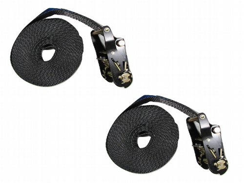 25MM Black Ratchet Straps 8M Endless Lashing x2 - 1.5 Ton Tie Down Trailer Cargo Truck